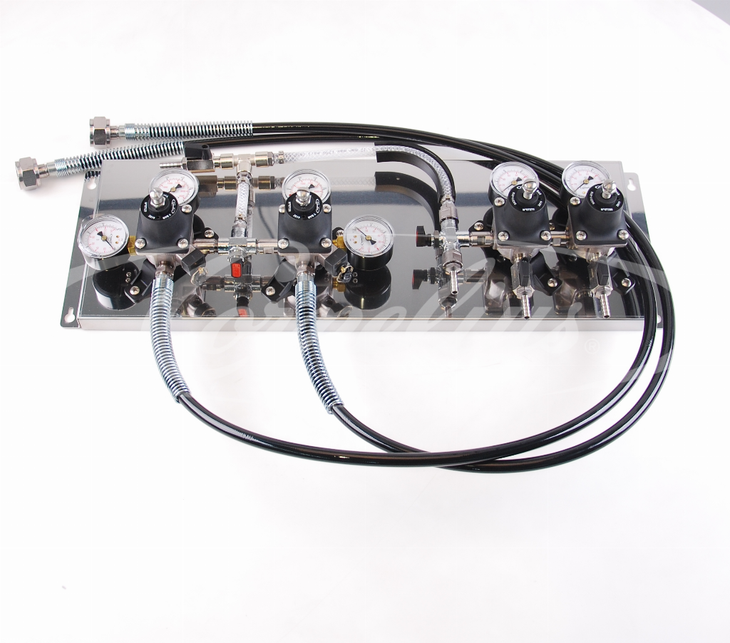 CO2 regulator board 7 bar, 2x hp + 2x lp